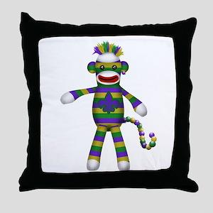 Mardi Gras Sock Monkey Throw Pillow