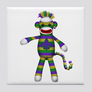 Mardi Gras Sock Monkey Tile Coaster