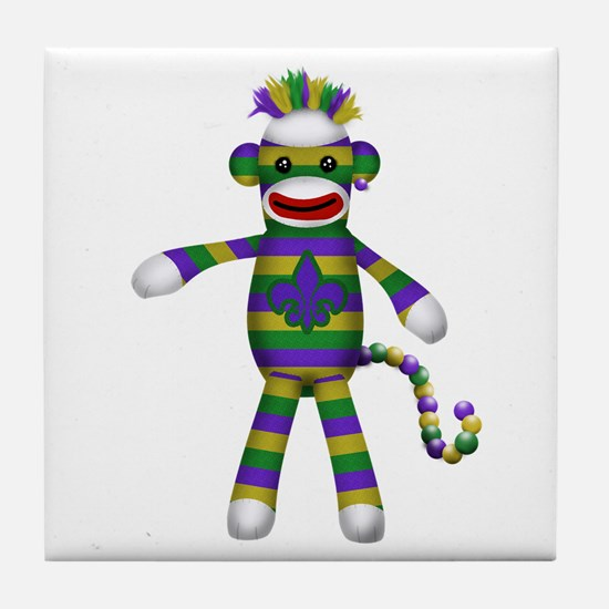 Mardi Gras Sock Monkey Tile Coaster
