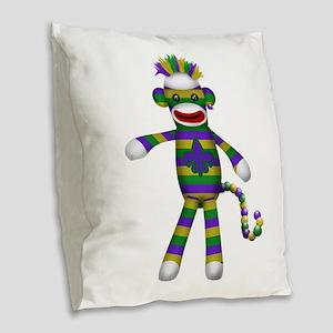 Mardi Gras Sock Monkey Burlap Throw Pillow