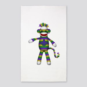 Mardi Gras Sock Monkey 3'x5' Area Rug