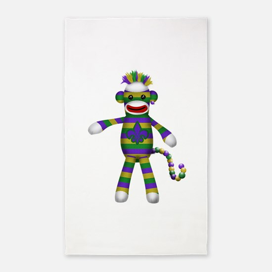 Mardi Gras Sock Monkey 3'x5' Area Rug