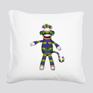 Mardi Gras Sock Monkey Square Canvas Pillow