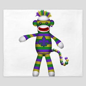 Mardi Gras Sock Monkey King Duvet