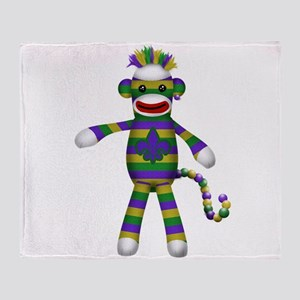 Mardi Gras Sock Monkey Throw Blanket