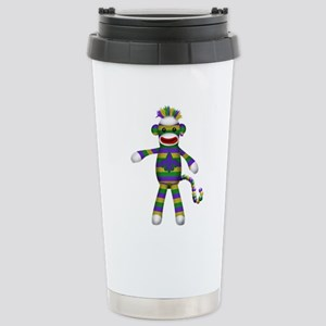 Mardi Gras Sock Monkey Travel Mug