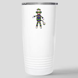 Mardi Gras Sock Monkey Travel Mug