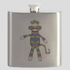 Mardi Gras Sock Monkey Flask