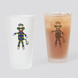 Mardi Gras Sock Monkey Drinking Glass