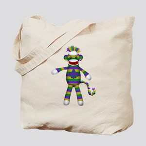 Mardi Gras Sock Monkey Tote Bag