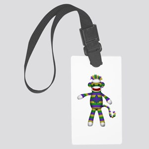Mardi Gras Sock Monkey Luggage Tag