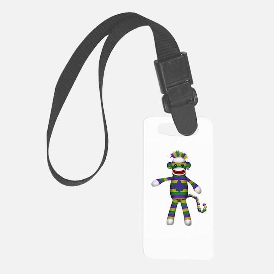 Mardi Gras Sock Monkey Luggage Tag