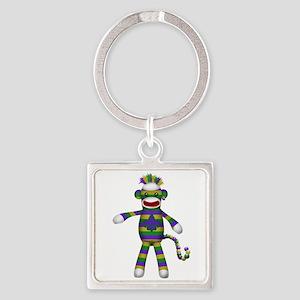 Mardi Gras Sock Monkey Square Keychain