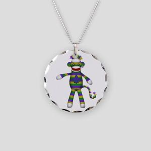 Mardi Gras Sock Monkey Necklace Circle Charm