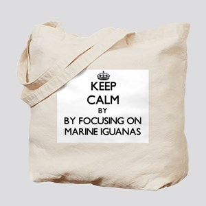 Keep calm by focusing on Marine Iguanas Tote Bag
