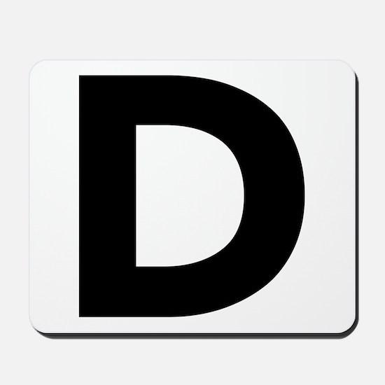 Letter D Black Mousepad