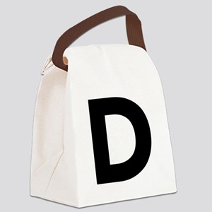 Letter D Black Canvas Lunch Bag