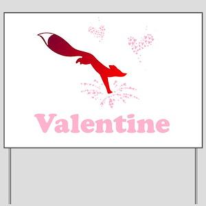 Valentine fox with flower hearts Yard Sign