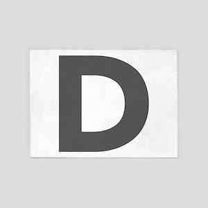 Letter D Dark Gray 5'x7'Area Rug