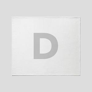 Letter D Light Gray Throw Blanket