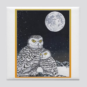 Snowy Owls Tile Coaster