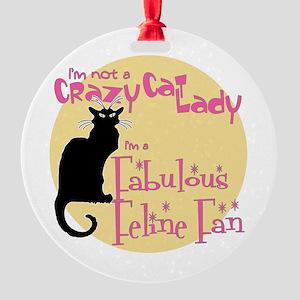 Feline Fan Round Ornament