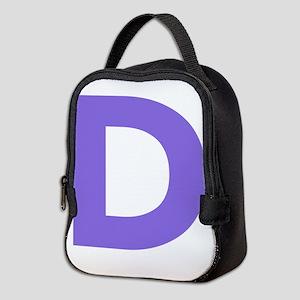 Letter D Purple Neoprene Lunch Bag