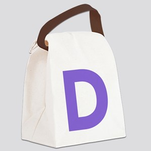 Letter D Purple Canvas Lunch Bag