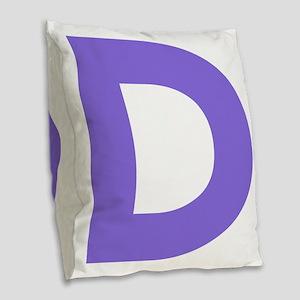 Letter D Purple Burlap Throw Pillow