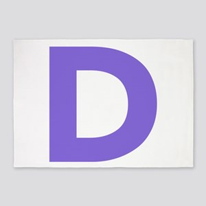Letter D Purple 5'x7'Area Rug