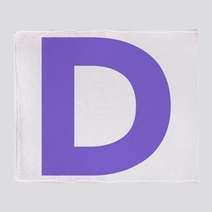 Letter D Purple Throw Blanket