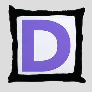 Letter D Purple Throw Pillow