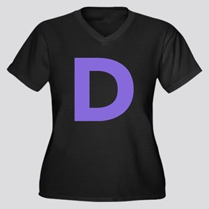 Letter D Purple Plus Size T-Shirt