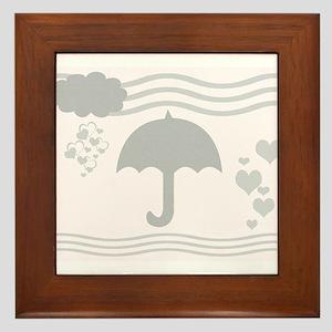 Linen Grey Umbrella Hearts Framed Tile