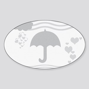 Linen Grey Umbrella Hearts Sticker
