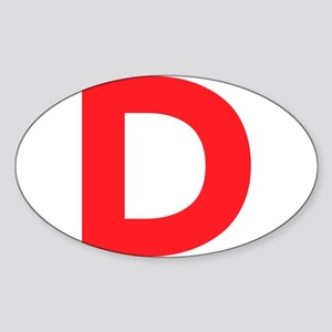 Letter D Red Sticker