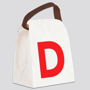 Letter D Red Canvas Lunch Bag