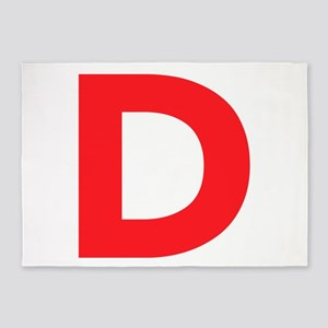 Letter D Red 5'x7'Area Rug