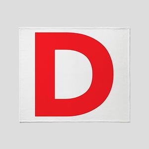 Letter D Red Throw Blanket