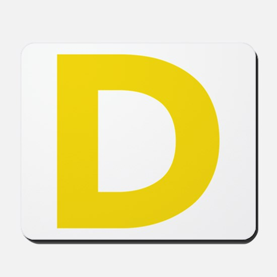 Letter D Yellow Mousepad