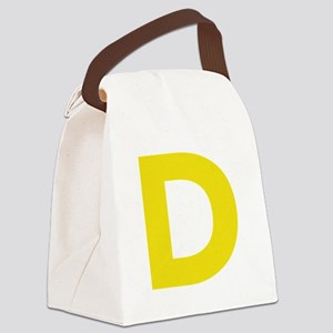 Letter D Yellow Canvas Lunch Bag