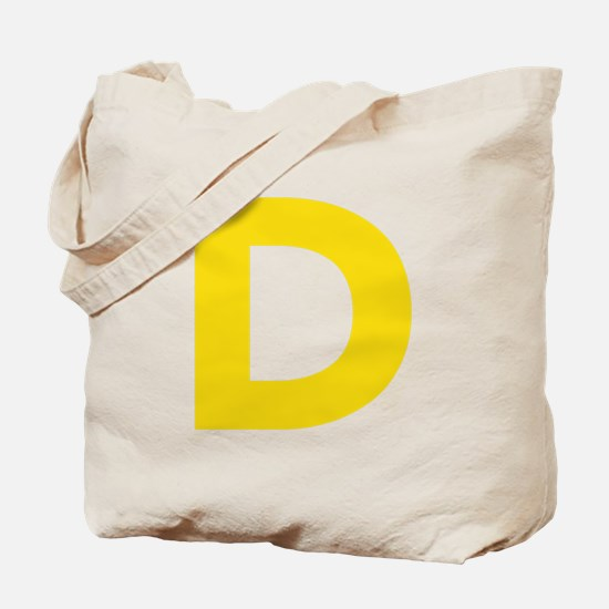 Letter D Yellow Tote Bag
