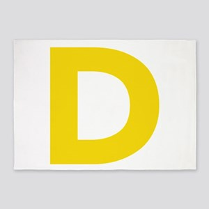 Letter D Yellow 5'x7'Area Rug