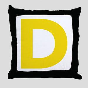 Letter D Yellow Throw Pillow