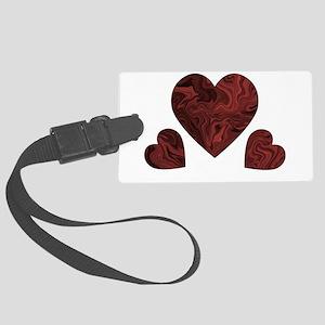 Deep Red Swirl Hearts Luggage Tag