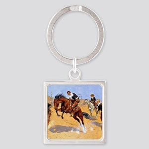 Cowboy art: Turn Him Loose, Bill Square Keychain