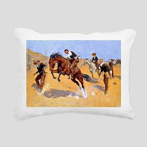 Cowboy art: Turn Him Loo Rectangular Canvas Pillow