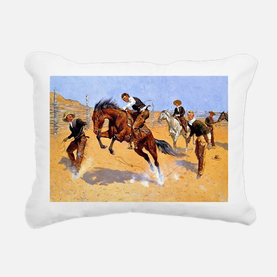 Cowboy art: Turn Him Loo Rectangular Canvas Pillow