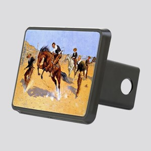 Cowboy art: Turn Him Loose Rectangular Hitch Cover