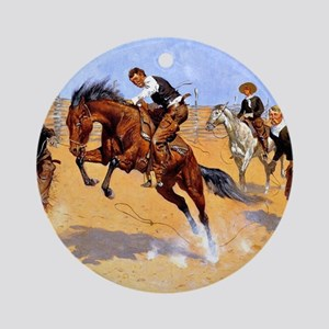 Cowboy art: Turn Him Loose, Bill Round Ornament